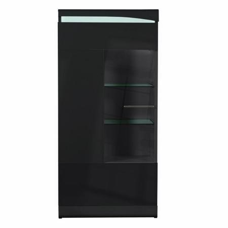 Sciae Ovio Black High Gloss Display Cabinet with 1 Glazed Door