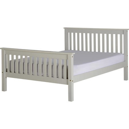 Seconique Monaco Double Bed Frame in Grey with High Foot End