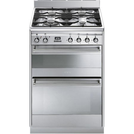 Smeg SUK62MX8 Concert 60cm Double Oven Dual Fuel Cooker - Stainless Steel