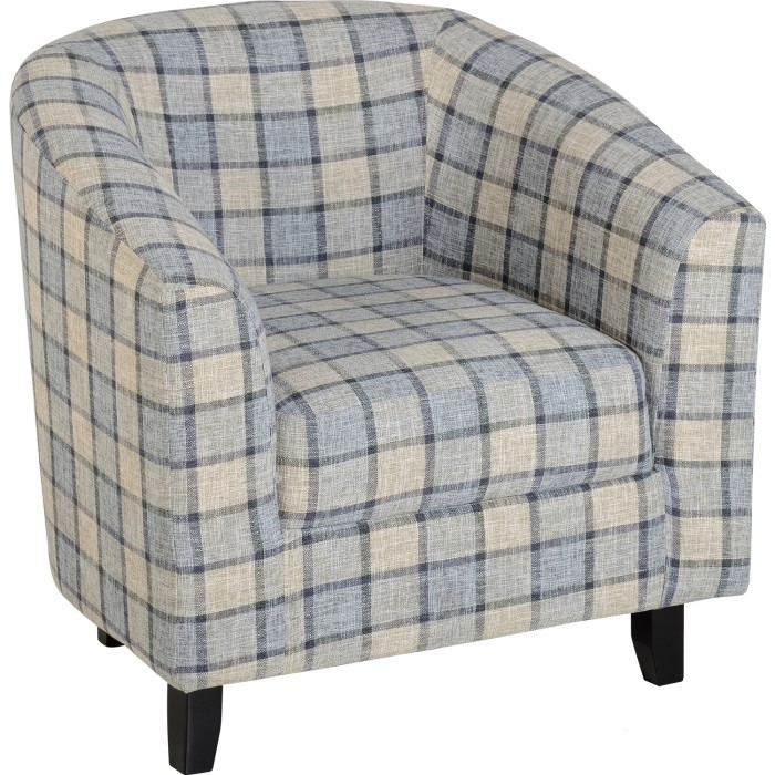 Seconique Hammond TUB Chair in Grey Check Fabric - Buy It Direct