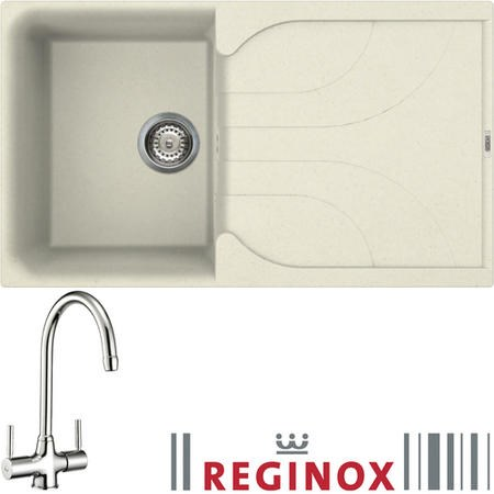 Reginox EGO400 Reversible 1 Bowl Cream Regi-Granite Composite Sink & Thames Chrome Tap Pack