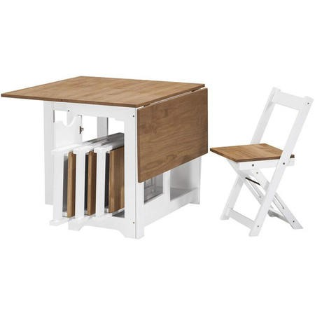 Terrific Seconique Santos Butterfly Folding Dining Set With 4 Dining Chairs In White Pine Theyellowbook Wood Chair Design Ideas Theyellowbookinfo