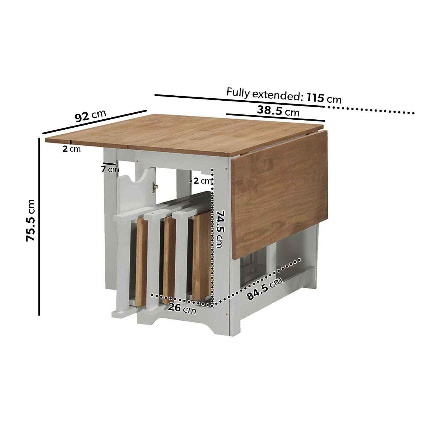 - Seconique Santos Butterfly Folding Dining Set In Grey & Pine With