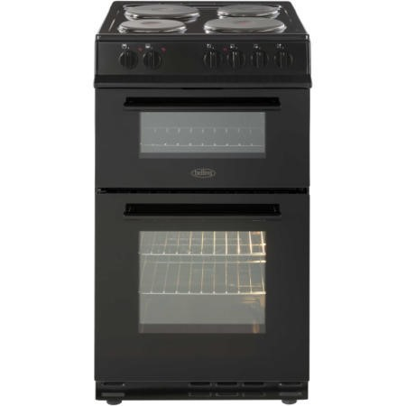 Belling FS50EFDO Double Oven Electric Cooker With Solid Plate Hob Black
