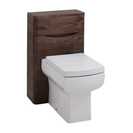 GRADE A1 - Walnut Back to Wall WC Toilet Unit - Without Toilet - W500 x D200mm
