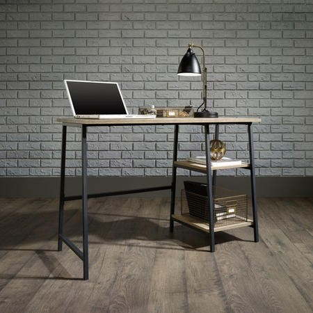 Industrial Office Desk Black Frame Oak Effect Top