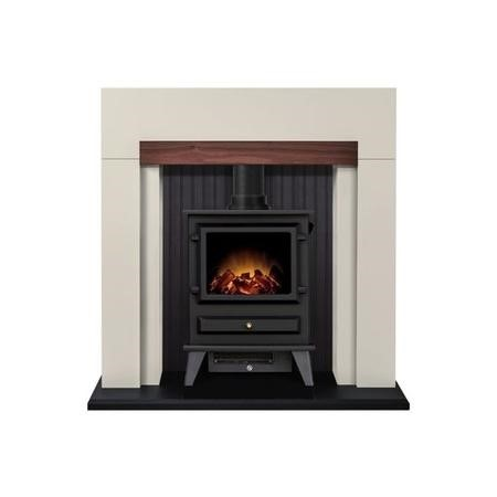 Adam Salzburg Cream Surround with Hudson Electric Stove in Black