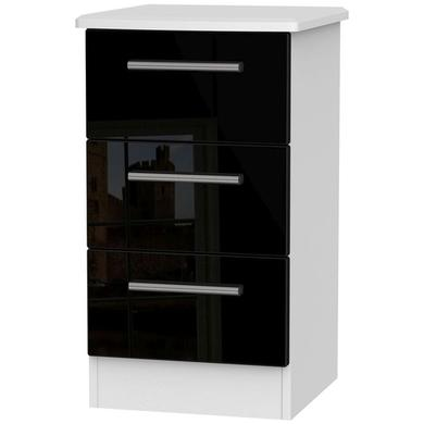 GRADE A2 - Knightsbridge 3 Drawer Bedside Chest in Black High Gloss and White Matt