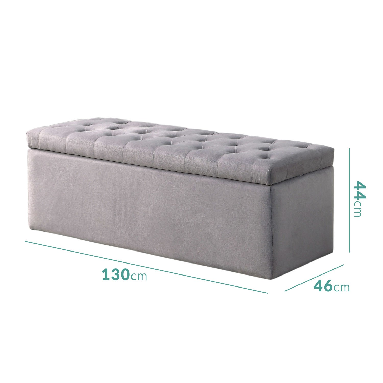 Picture of: Safina Ottoman Storage Box In Grey Velvet Buyitdirect Ie