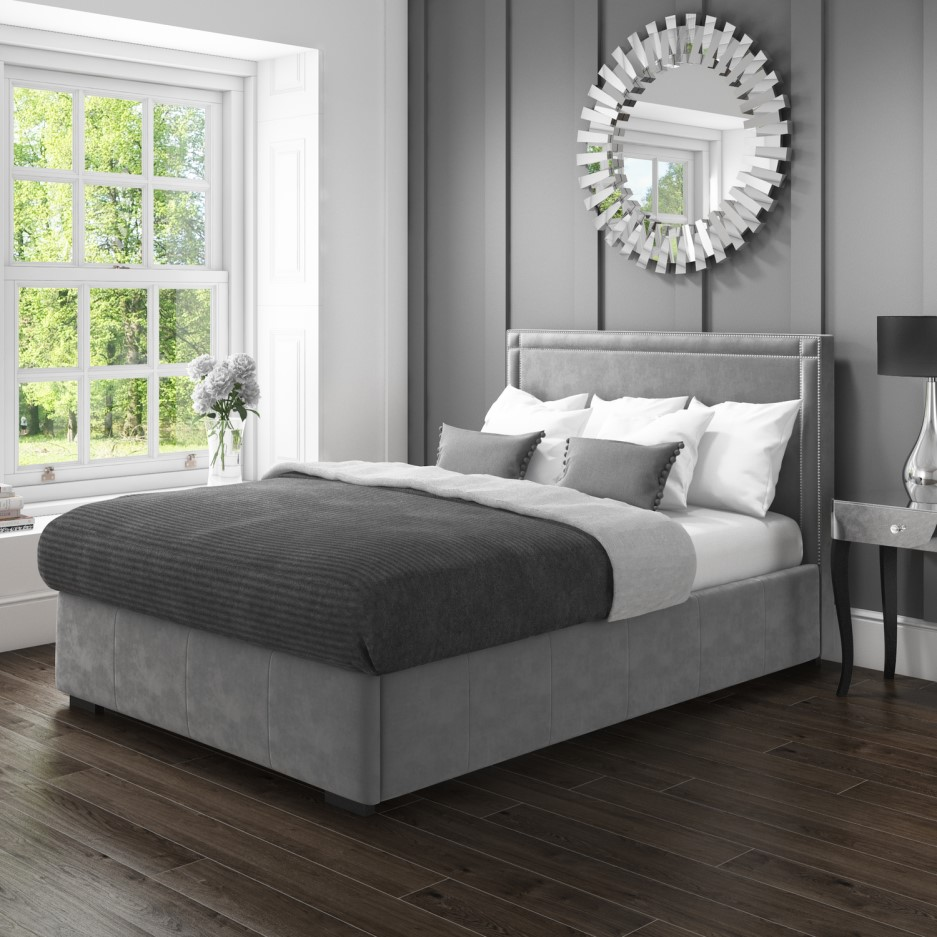 Pleasant Safina King Size Ottoman Bed With Stud Detailing In Grey Velvet Ibusinesslaw Wood Chair Design Ideas Ibusinesslaworg