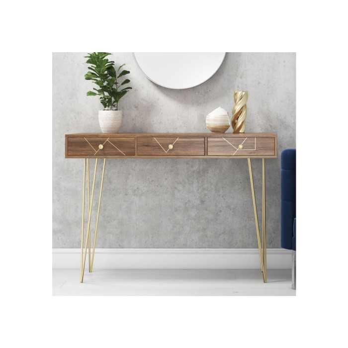 Solid Wood Storage Console Table With Brass Inlay 3 Drawers Tahlia Range Tah001