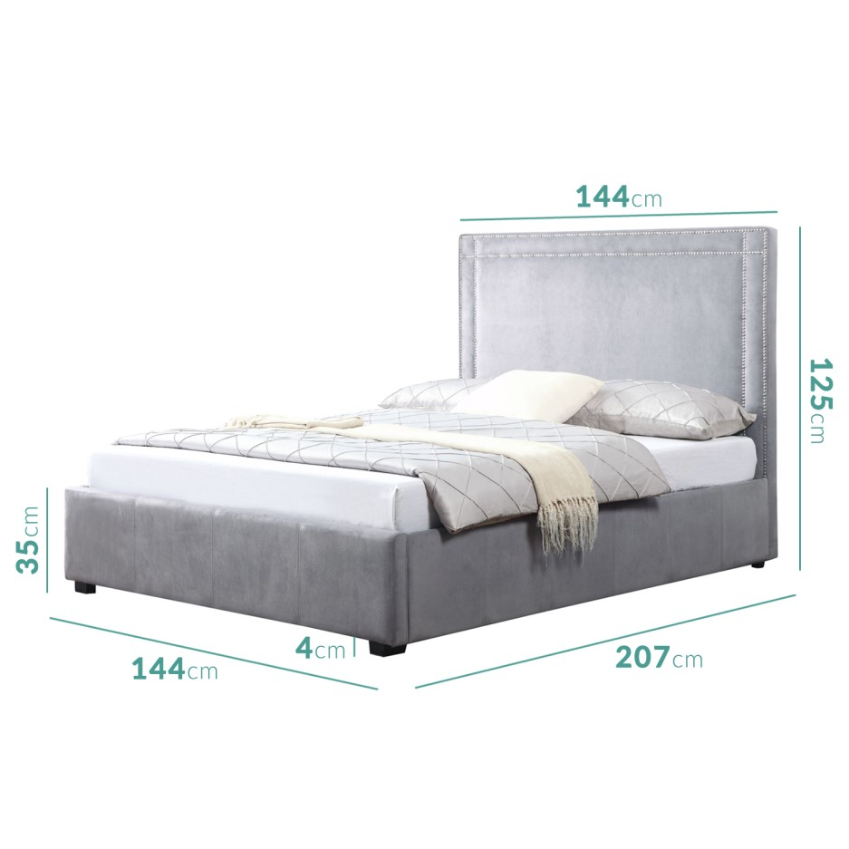 Safina Double Ottoman Bed With Stud Detailing In Grey