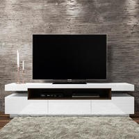 Harlow White High Gloss TV Unit with Grey Trim