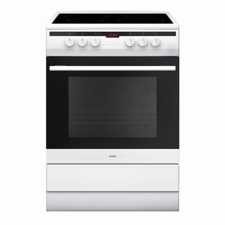 Amica 608CE2TAW 60cm Single Fan Oven Electric Cooker with Ceramic Hob - White