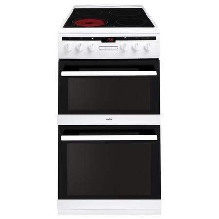 Amica AFC5550WH 50cm Double Oven Electric Cooker With Ceramic Hob - White
