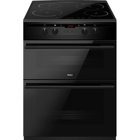 Amica AFN6550MB 60cm Electric Double Oven Cooker With Induction Hob And Programmable Timer - Black