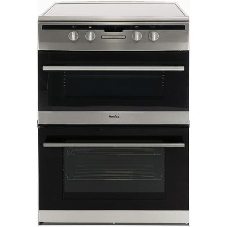 Amica AFN6550SS 60cm Electric Double Oven Cooker With Induction Hob And Programmable Timer - Stainless Steel