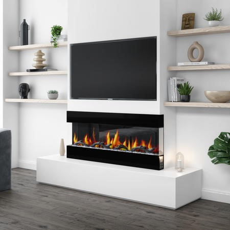 AmberGlo Mirrored Electric Wall Mounted Fire in Black - 50 Inch