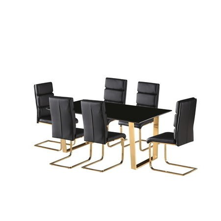 LPD Antibes Black High Gloss Dining Table with Polished Gold Legs