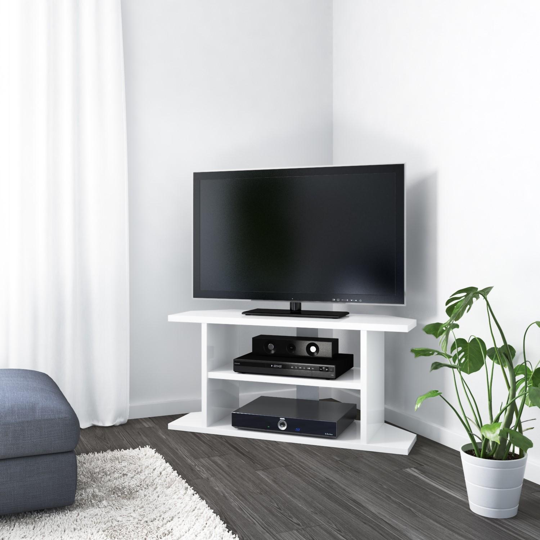 Small White High Gloss Corner Tv Stand