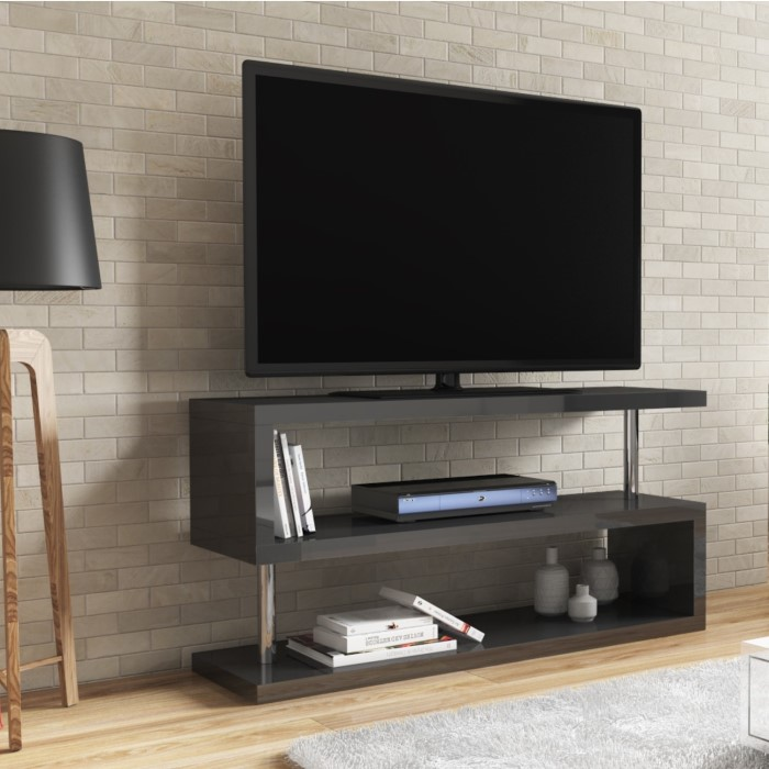 Artemis Grey High Gloss Geometric Tv Unit Stand