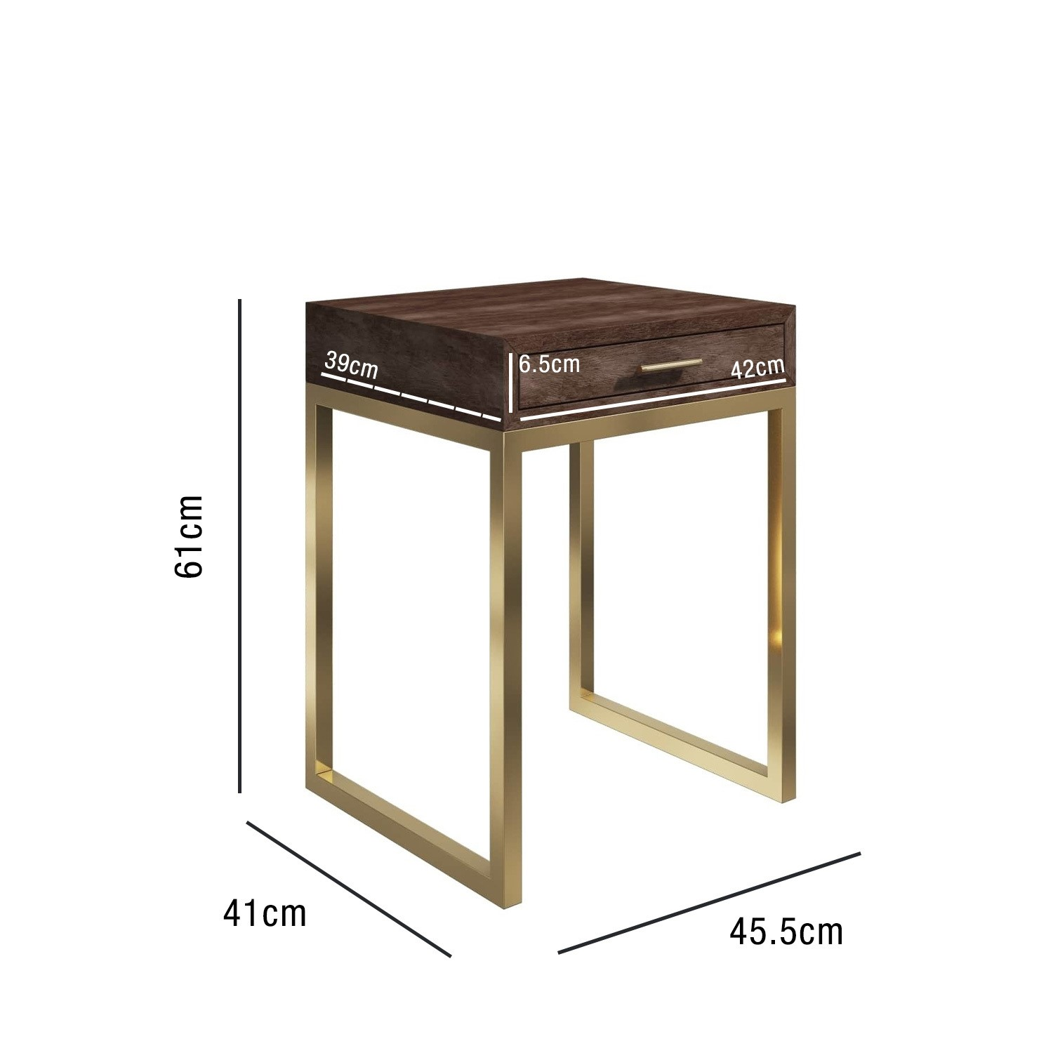 Picture of: Aubrey Walnut 1 Drawer Bedside Table With Gold Trim Legs Buyitdirect Ie