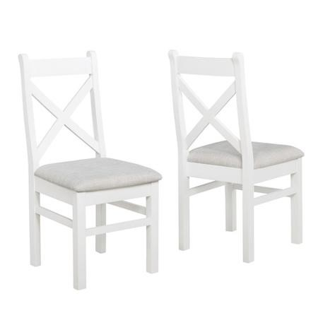 Pair of Painted White Dining Chairs with Grey Cushioned Seat - Aylesbury