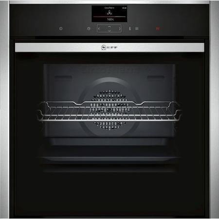 NEFF B47CS34H0B N90 Touch Control Multifunction Single Oven With SLIDE&HIDE Door - Black With Steel