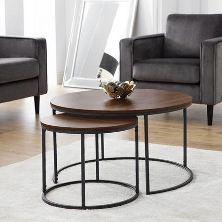 Round Dark Wood Nest of Coffee Tables with Black Metal Base - Julian Bowen Bellini