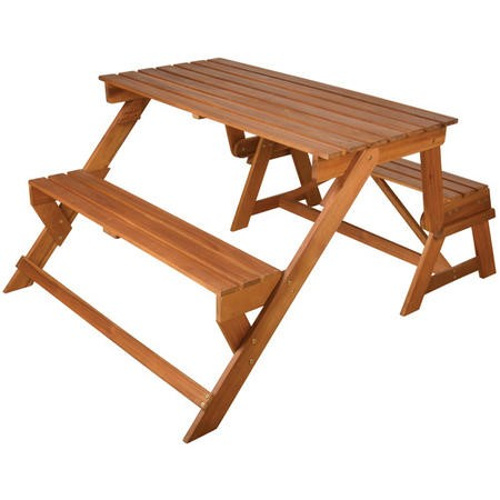 Wooden Garden Dining Bench Set - Convertible Bench