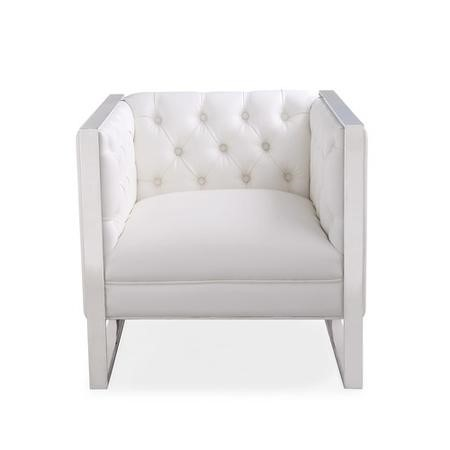 White Faux Leather Square Armchair with Chrome Metal Base