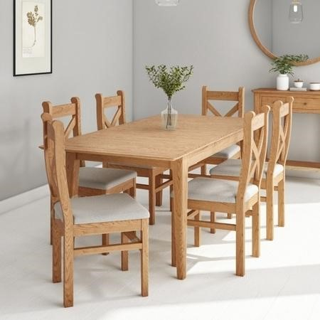 Extendable Solid Oak Dining Set & 6 Chairs - Adeline