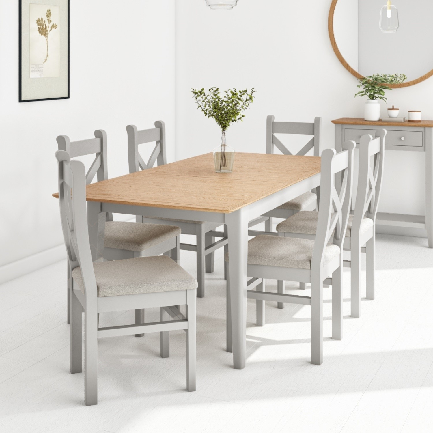 Extendable Dining Table 6 Chairs In Grey Solid Oak Adeline Buyitdirect Ie