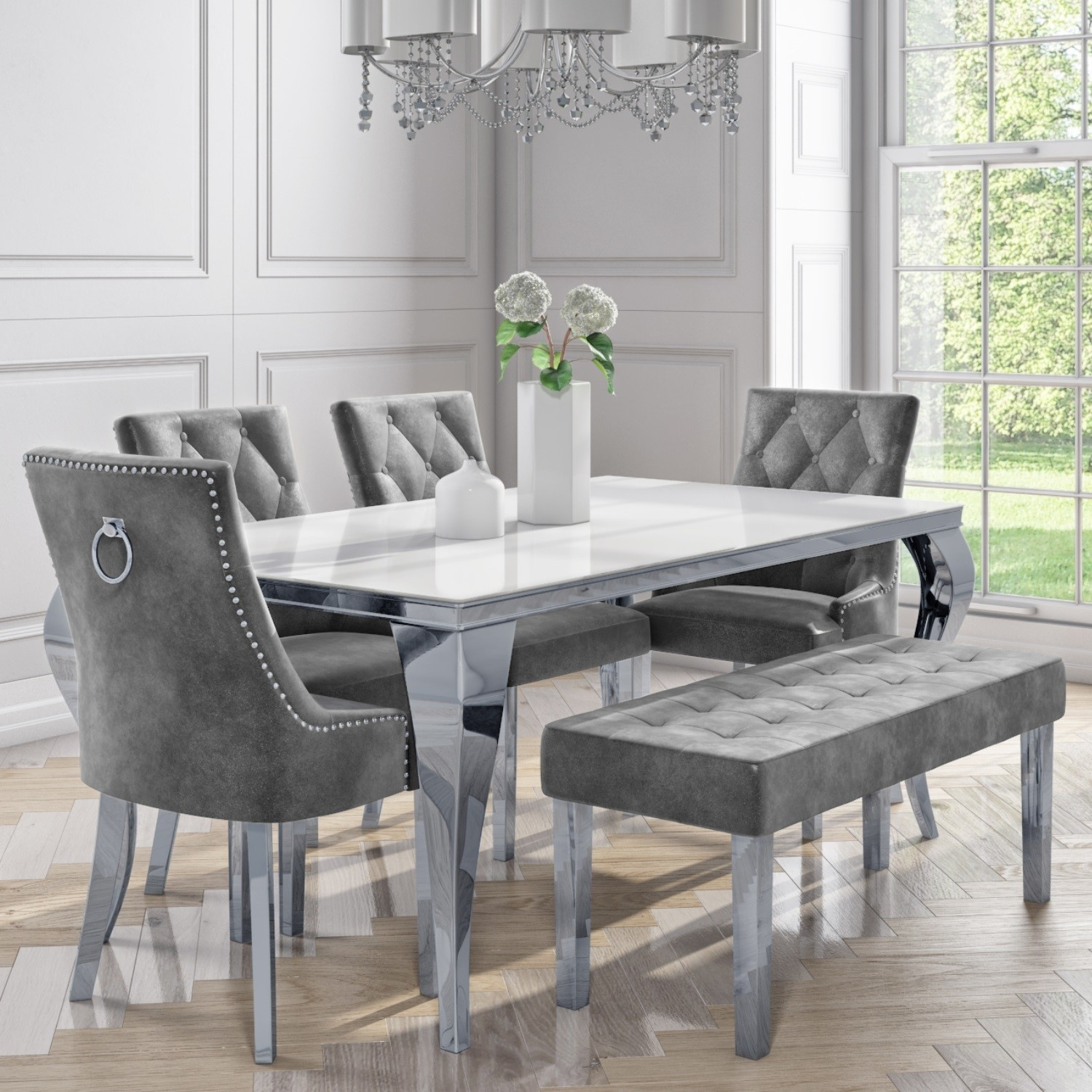 White Mirrored Dining Table With 4 Grey
