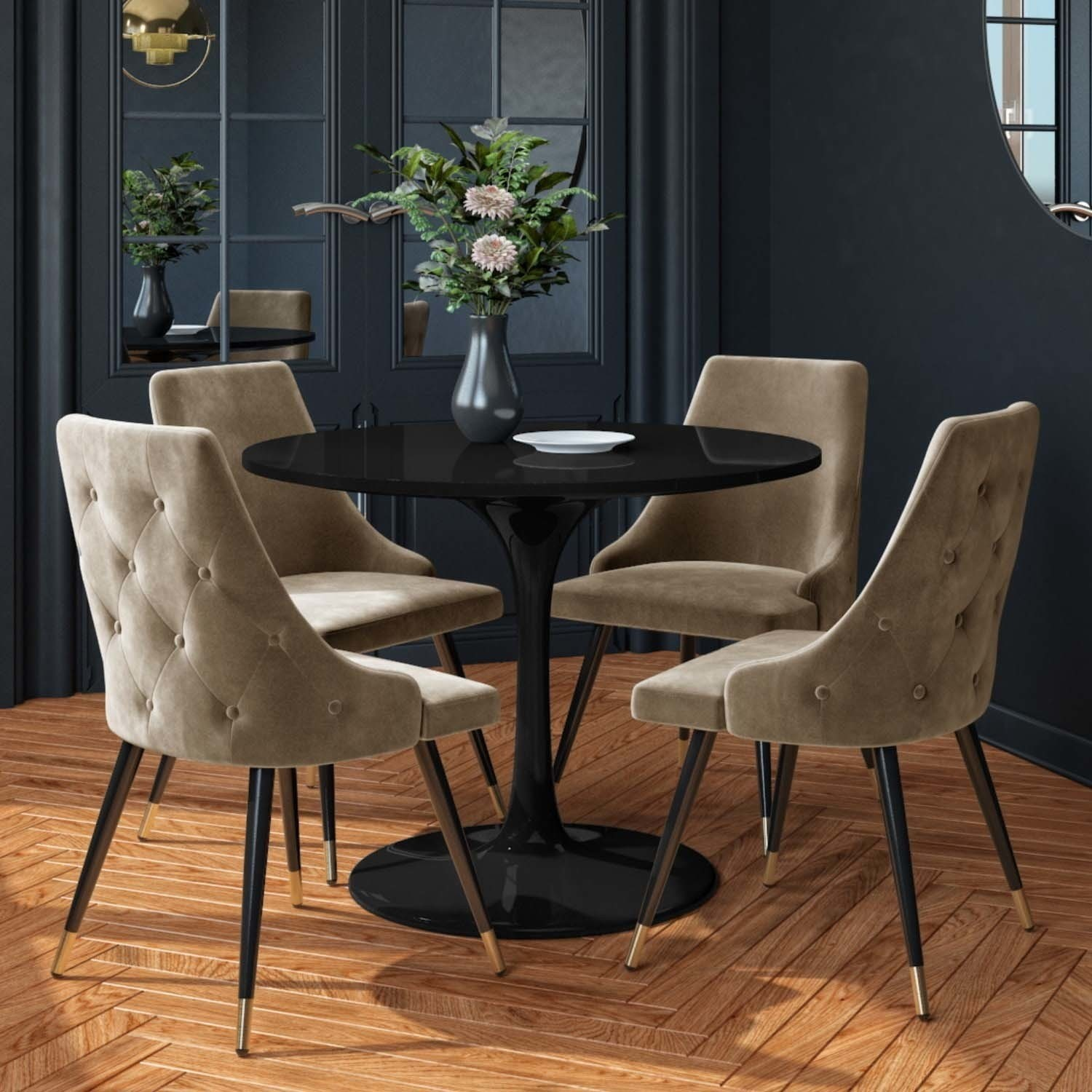 Aura Black Round High Gloss Dining Table With 4 Beige Velvet Dining Chairs Buyitdirect Ie