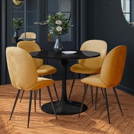 Aura Black Round High Gloss Dining Table with 4 Mustard Velvet Chairs