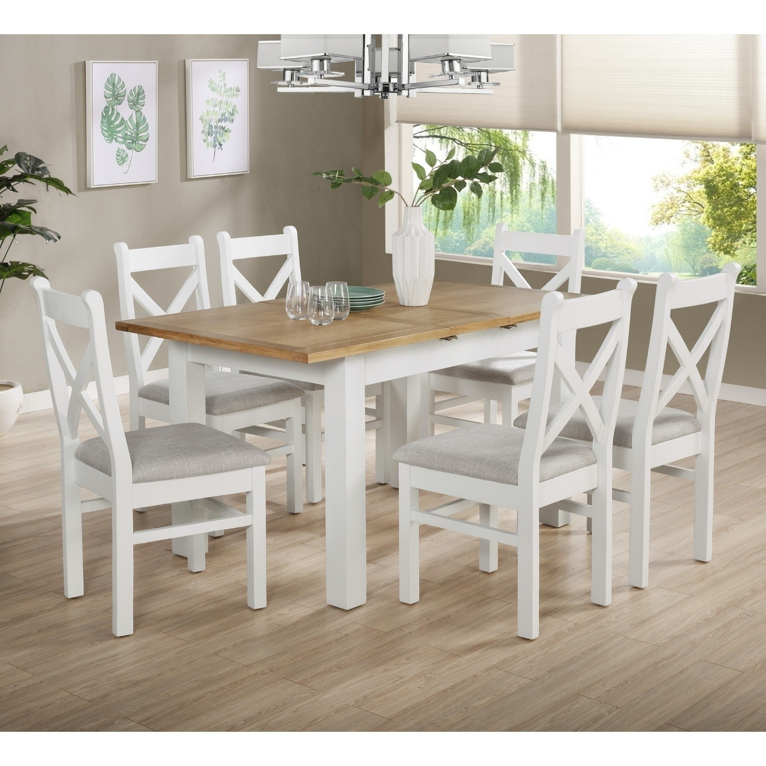 White Oak Extendable Dining Set With 6 White Dining Chairs Aylesbury Buyitdirect Ie