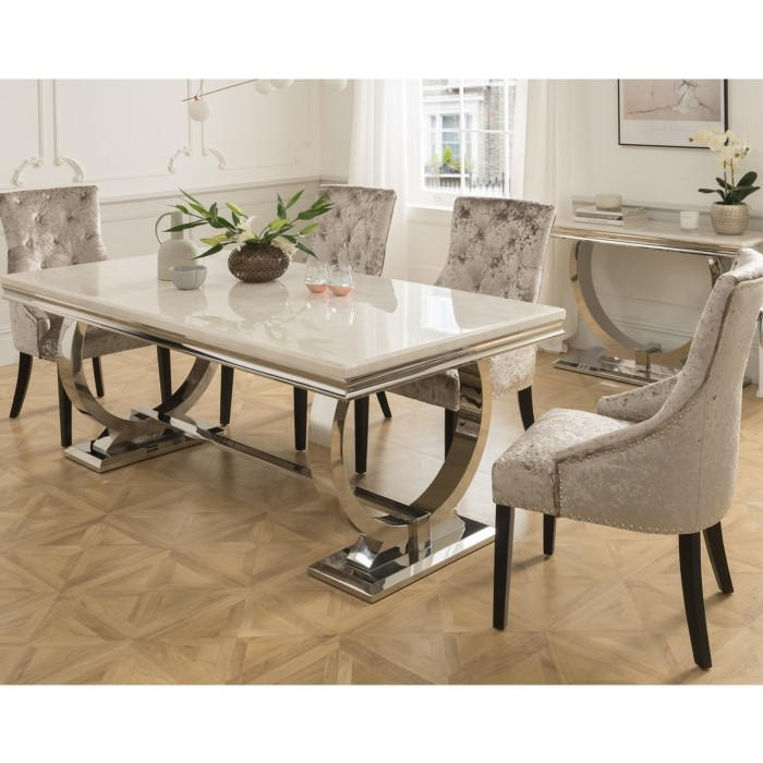 Allie Marble Dining Set In Cream And Black With 6 Grey: Crushed Velvet Dining Chairs