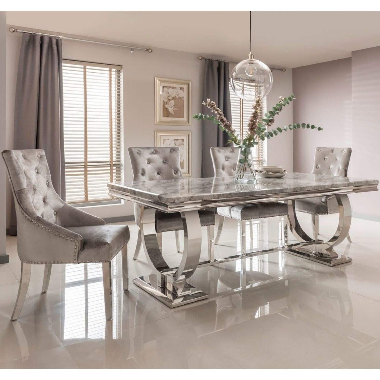 Arianna Grey Marble Dining Set With 180cm Table 4 Velvet Chairs Buyitdirect Ie