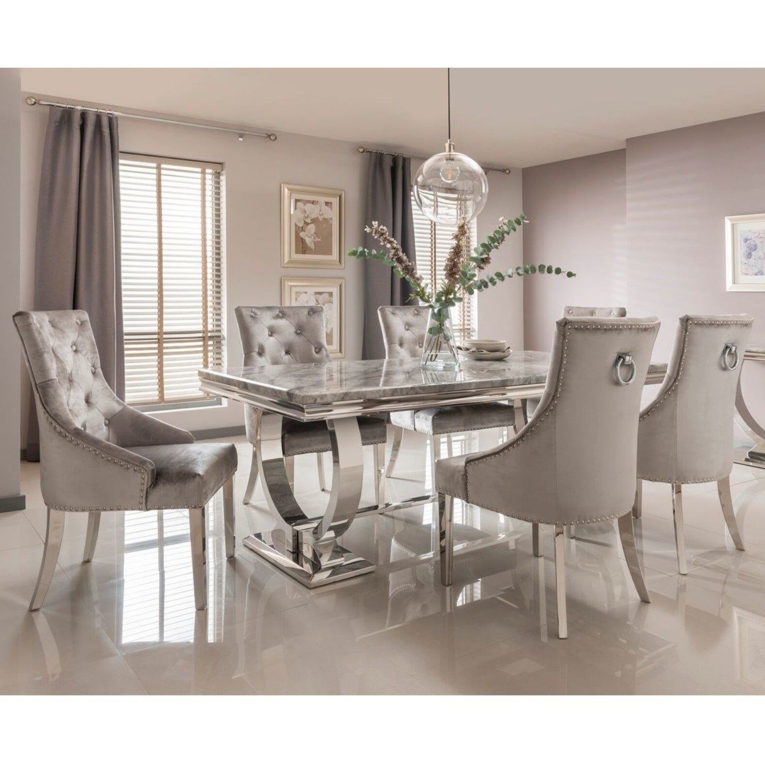 Arianna Grey Marble Dining Set With 200cm Table 6 Velvet Chairs Buyitdirect Ie
