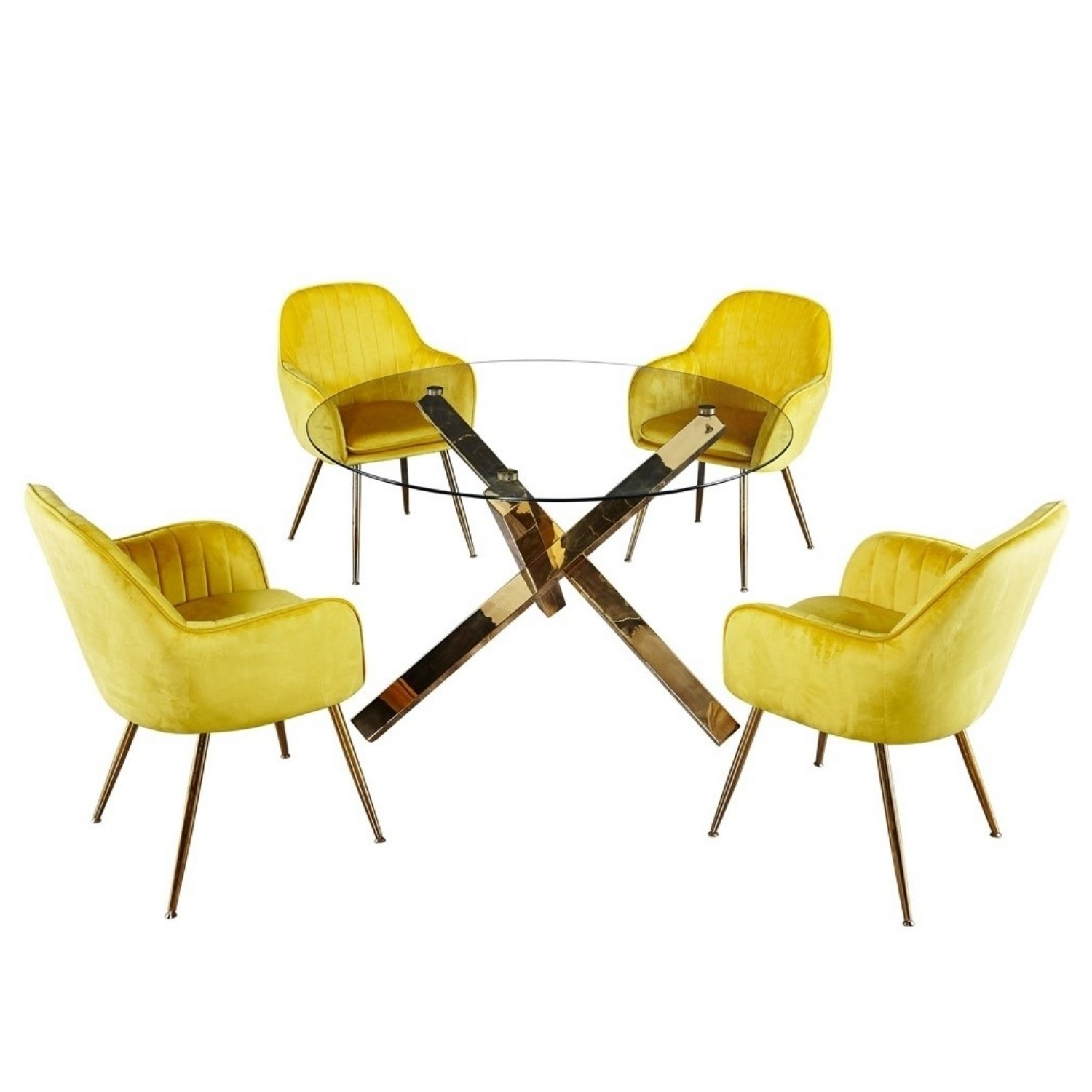 Capri Glass Top Dining Table 4 Yellow Velvet Dining Chairs With Gold Legs Buyitdirect Ie