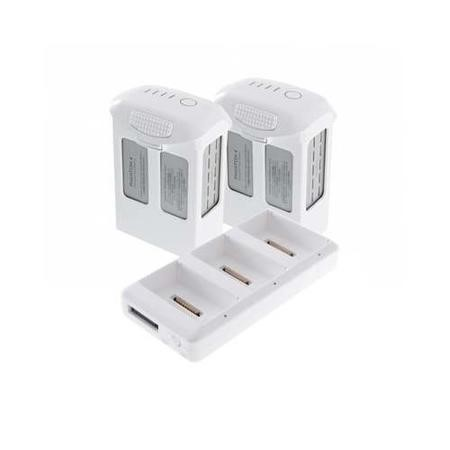 Two DJI Phantom 4 High Cap Rechargeable Intelligent Flight Batteries + Battery Charging Hub