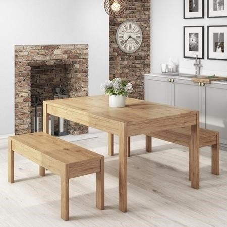 Emerson Solid Pine Wood Dining Set - with 1 Dining Table & 2 Benches