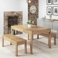 Emerson Solid Pine Dining Set with Table and Benches