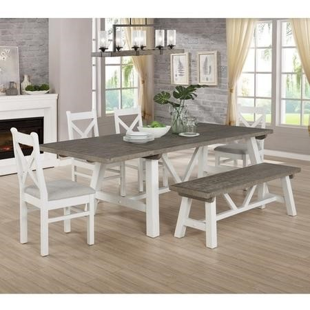 Extendable Wood Dining Table in White & Grey Wash with 4 Chairs & 1 Bench - Fawsley
