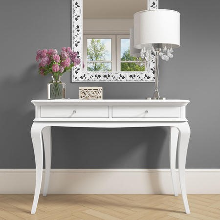 Floine White Console Table With