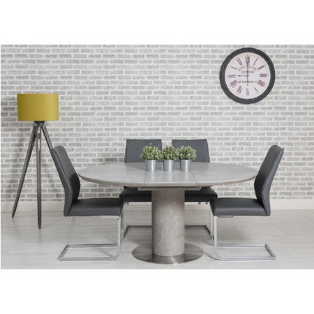 Extendable Concrete Round Dining Table, Concrete Round Dining Table For 6