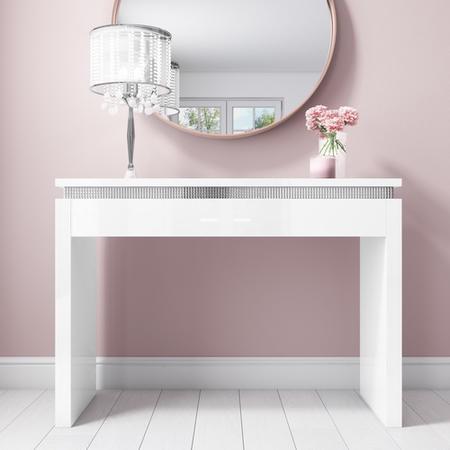 White High Gloss Office Desk With Diamante Trim Gabriella Range