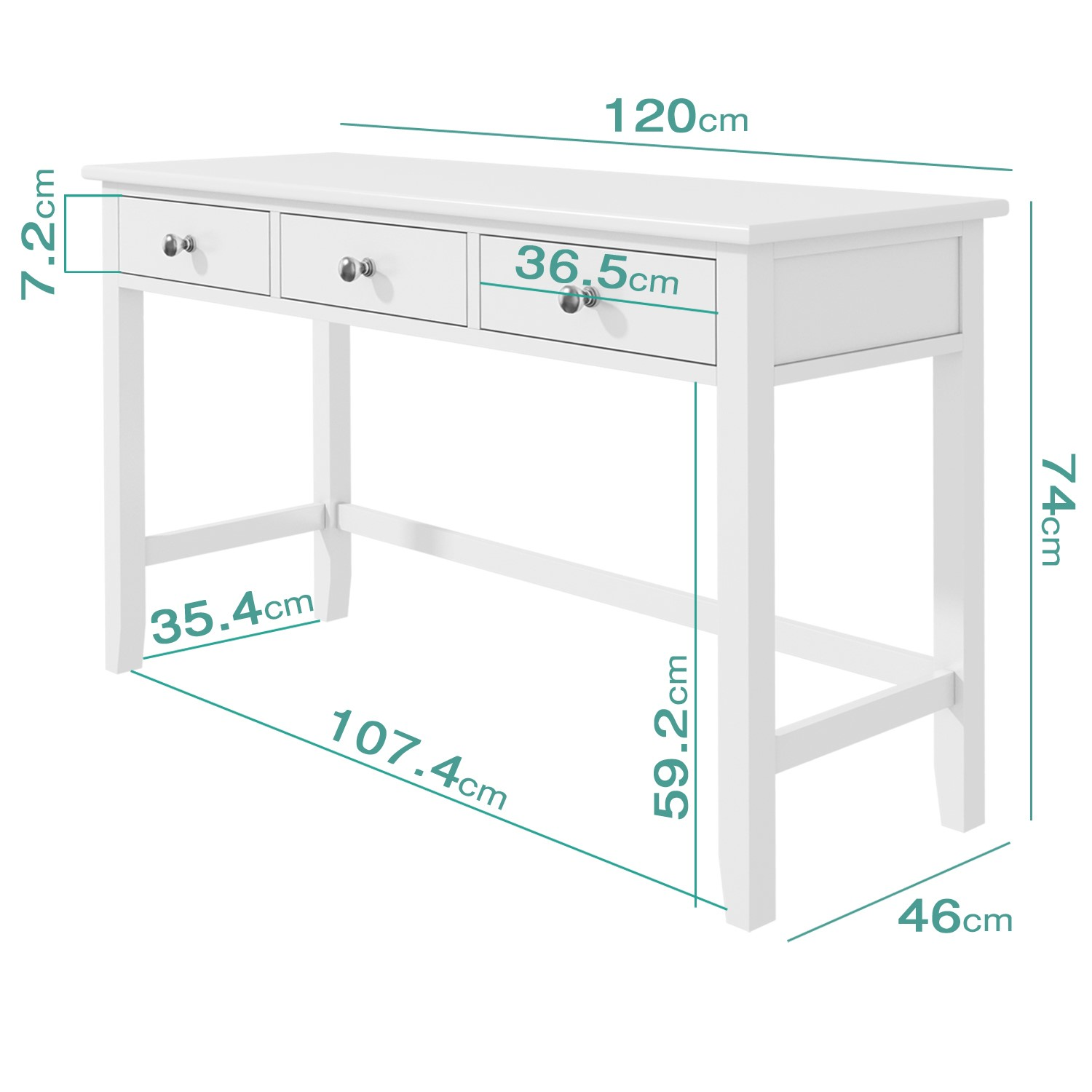 Wooden White Console Table With Drawers, Sofa Table Desk With Drawers