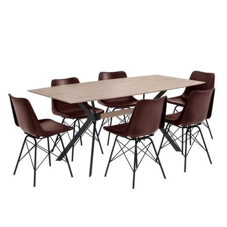 Cool Industrial Dining Set With 6 Dark Leather Chairs Wooden Table Jaxon Isaac Gmtry Best Dining Table And Chair Ideas Images Gmtryco